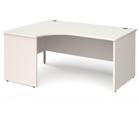 All White Panel End Left Hand Ergonomic Desk