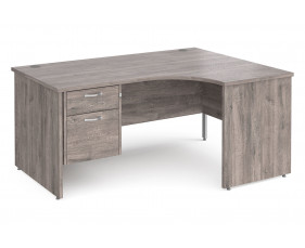 All Grey Oak Panel End Right Hand Ergo Desk 2 Drawers