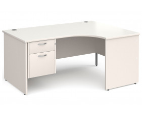 All White Panel End Right Hand Ergo Desk 2 Drawers