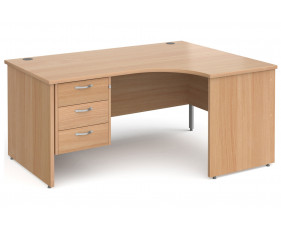 All Beech Panel End Right Hand Ergo Desk 3 Drawers