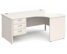 All White Panel End Right Hand Ergo Desk 3 Drawers