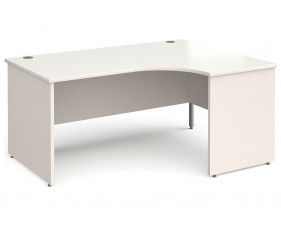 All White Panel End Right Hand Ergonomic Desk