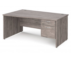 All Grey Oak Panel End Left Hand Wave Desk 2 Drawers