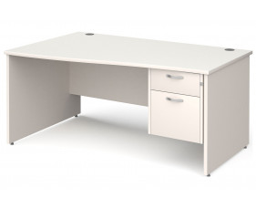All White Panel End Left Hand Wave Desk 2 Drawers