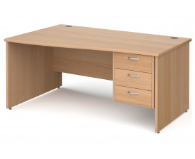 All Beech Panel End Left Hand Wave Desk 3 Drawers