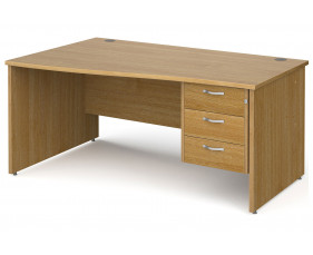 All Oak Panel End Left Hand Wave Desk 3 Drawers