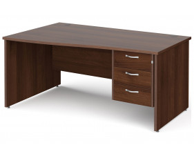 All Walnut Panel End Left Hand Wave Desk 3 Drawers