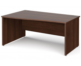 All Walnut Panel End Left Hand Wave Desk