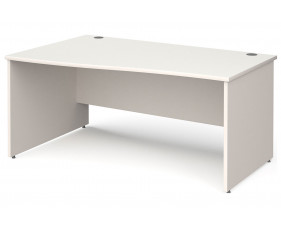 All White Panel End Left Hand Wave Desk