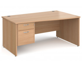 All Beech Panel End Right Hand Wave Desk 2 Drawers