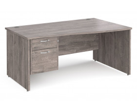 All Grey Oak Panel End Right Hand Wave Desk 2 Drawers