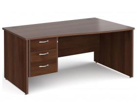 All Walnut Panel End Right Hand Wave Desk 3 Drawers