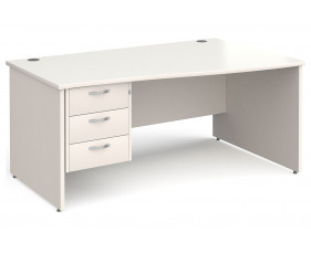 All White Panel End Right Hand Wave Desk 3 Drawers