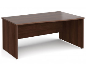 All Walnut Panel End Right Hand Wave Desk