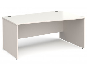 All White Panel End Right Hand Wave Desk