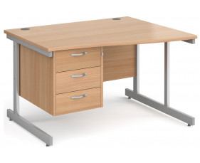 Next-Day Tully I Right Hand Wave Desk 3 Drawers