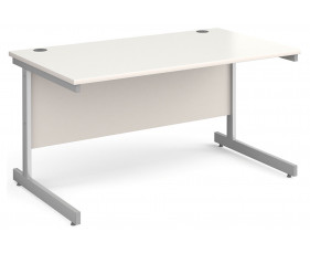 All White C-Leg Rectangular Desk