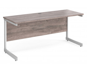 All Grey Oak C-Leg Narrow Rectangular Desk