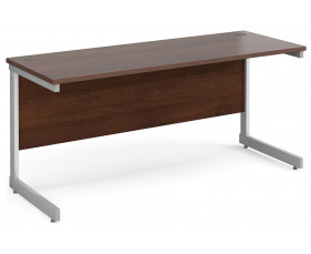 All Walnut C-Leg Narrow Rectangular Desk