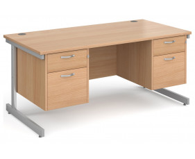 Next-Day Tully I Rectangular Desk 2+2 Drawers