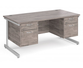All Grey Oak C-Leg Executive Desk 2+2 Drawers