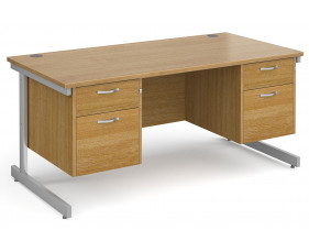All Oak C-Leg Executive Desk 2+2 Drawers