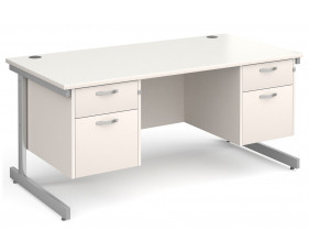 All White C-Leg Executive Desk 2+2 Drawers