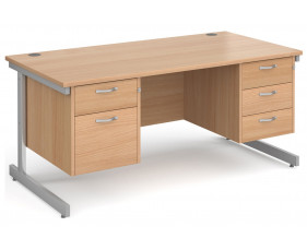 Next-Day Tully I Rectangular Desk 2+3 Drawers