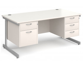 All White C-Leg Executive Desk 2+3 Drawers