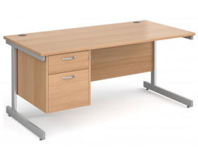 All Beech C-Leg Clerical Desk 2 Drawer