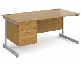 All Oak C-Leg Clerical Desk 2 Drawer