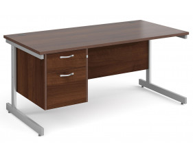 All Walnut C-Leg Clerical Desk 2 Drawer