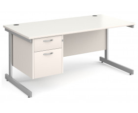 All White C-Leg Clerical Desk 2 Drawer
