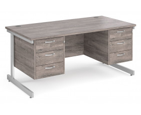 All Grey Oak C-Leg Executive Desk 3+3 Drawers