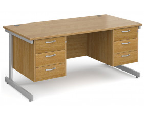 All Oak C-Leg Executive Desk 3+3 Drawers