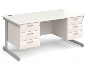 All White C-Leg Executive Desk 3+3 Drawers