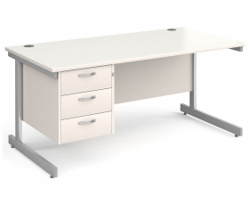 All White C-Leg Clerical Desk 3 Drawer