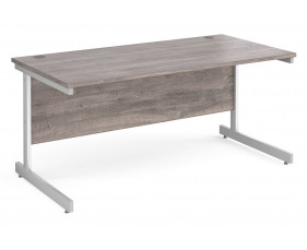 All Grey Oak C-Leg Rectangular Desk