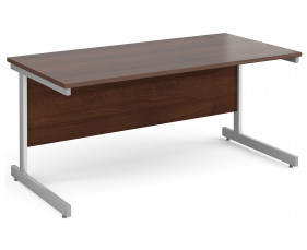 All Walnut C-Leg Rectangular Desk