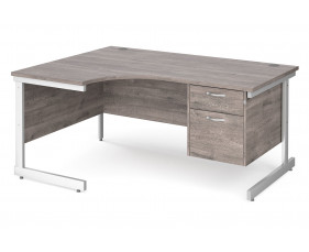 All Grey Oak C-Leg Left Hand Ergo Desk 2 Drawers