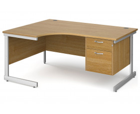 All Oak C-Leg Left Hand Ergo Desk 2 Drawers