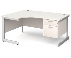 All White C-Leg Left Hand Ergo Desk 2 Drawers