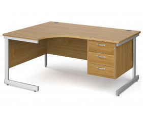All Oak C-Leg Left Hand Ergo Desk 3 Drawers