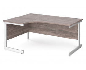 All Grey Oak C-Leg Ergonomic Desk Left