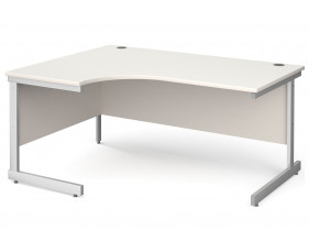 All White C-Leg Ergonomic Desk Left