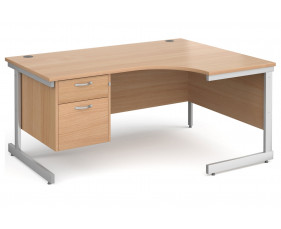 All Beech C-Leg Right Hand Ergo Desk 2 Drawers