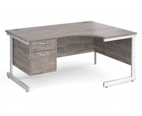 All Grey Oak C-Leg Right Hand Ergo Desk 2 Drawers
