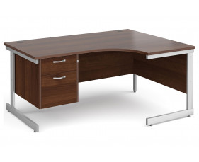 All Walnut C-Leg Right Hand Ergo Desk 2 Drawers