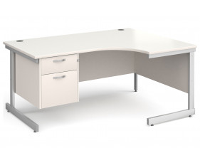 All White C-Leg Right Hand Ergo Desk 2 Drawers