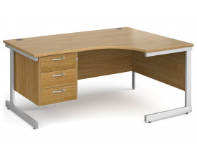 All Oak C-Leg Right Hand Ergo Desk 3 Drawers